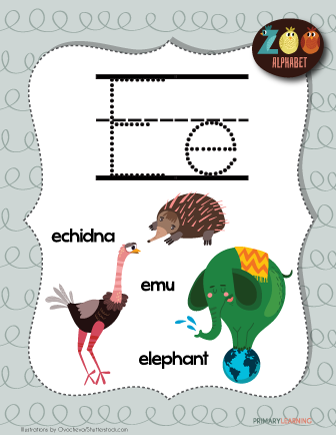 Letter E Animals Printable Poster Primary Learning Lettering Animals Starting With A Friendly Letter