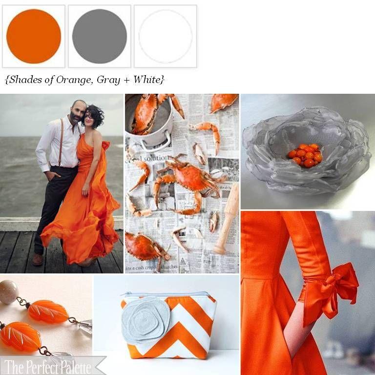 orange, grey, + white