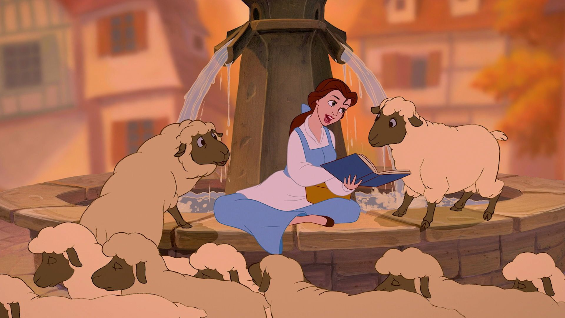 Image result for Belle reading book to sheep
