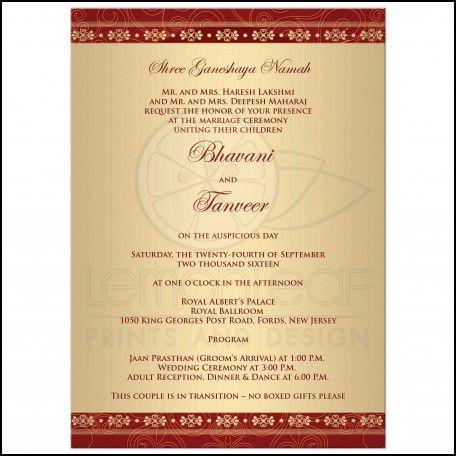 Sample Hindu Wedding Invitation Wording