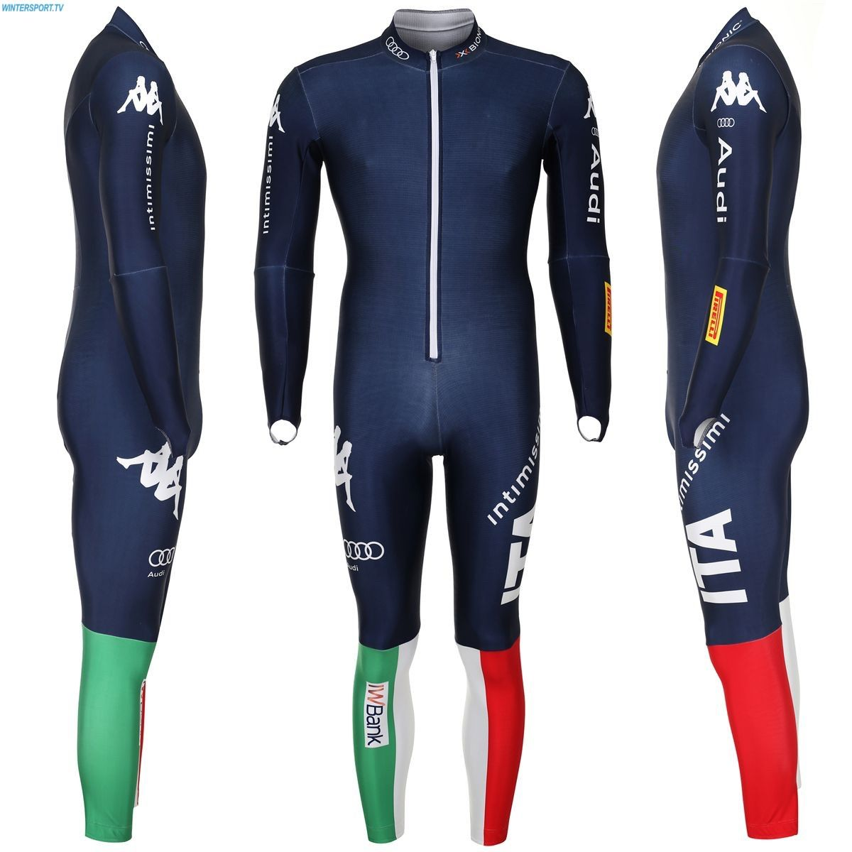 Kappa Junior Italian Team Race Suit Blue Nights Ski