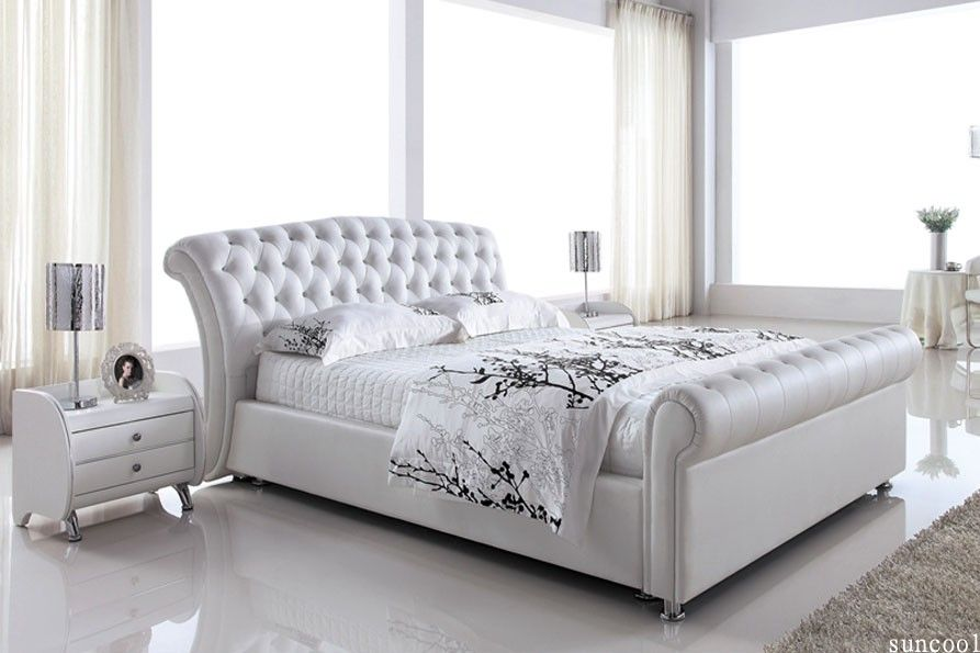 Awesome White Leather Queen Bed Wit Nightstand | Queen Beds | Pinterest