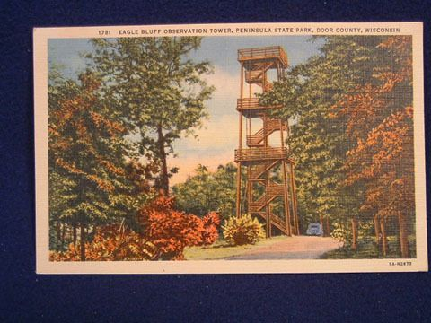 Eagle Bluff Tower Postcards Postcard Tower Door County Wisconsin