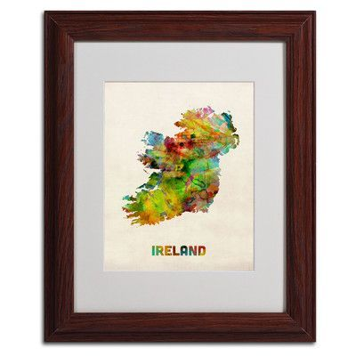 """Trademark Art """"Ireland Watercolor Map"""" by Michael Tompsett Matted Framed Graphic Art Size: 14"""" H x 11"""" W x 0.5"""" D, Frame Color: Black"""