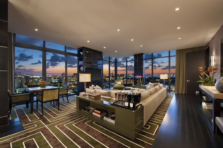 Living room in miami beach penthouse luxury condo for Hotel decor for sale