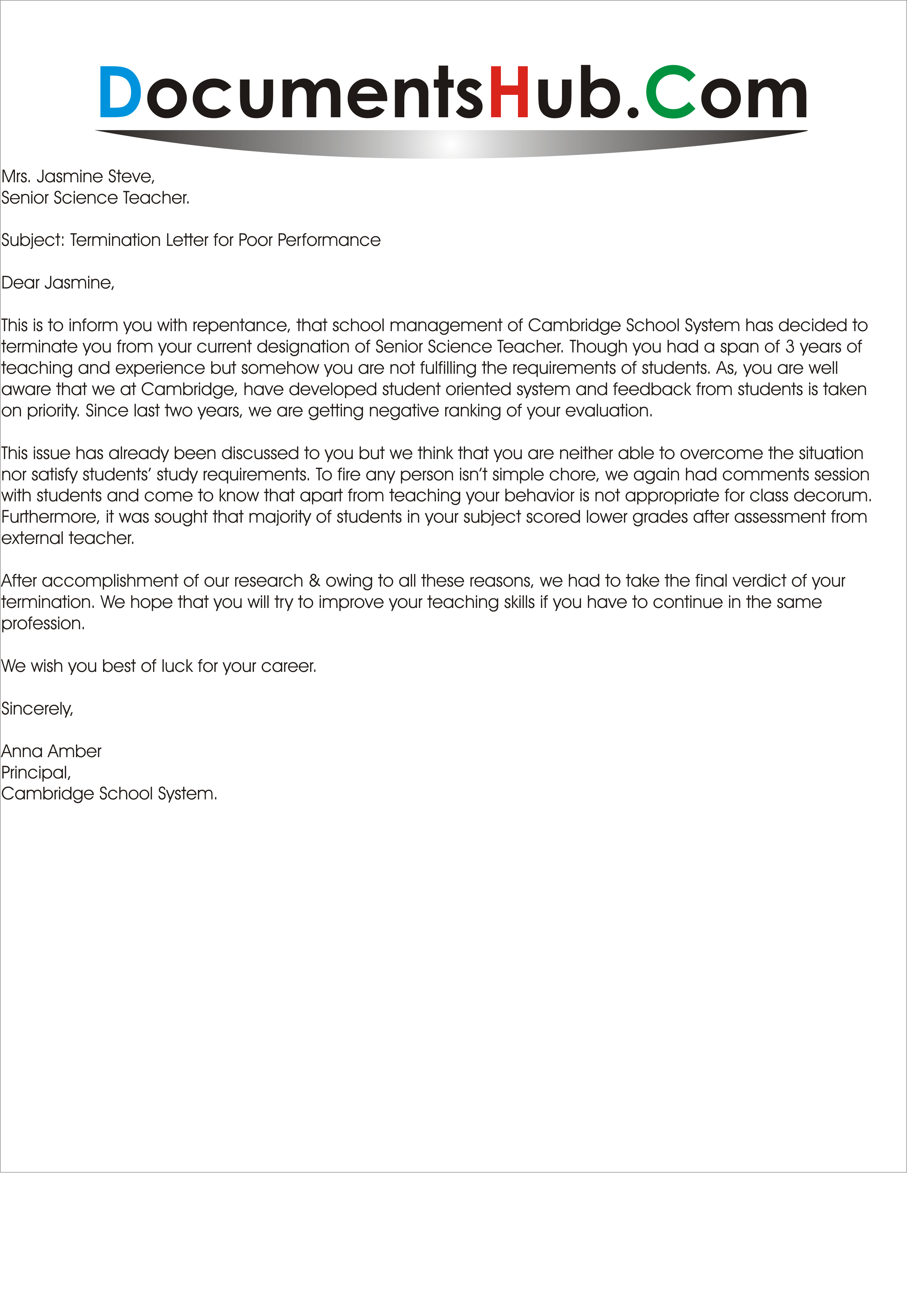 termination letter for poor performance documentshub perfect