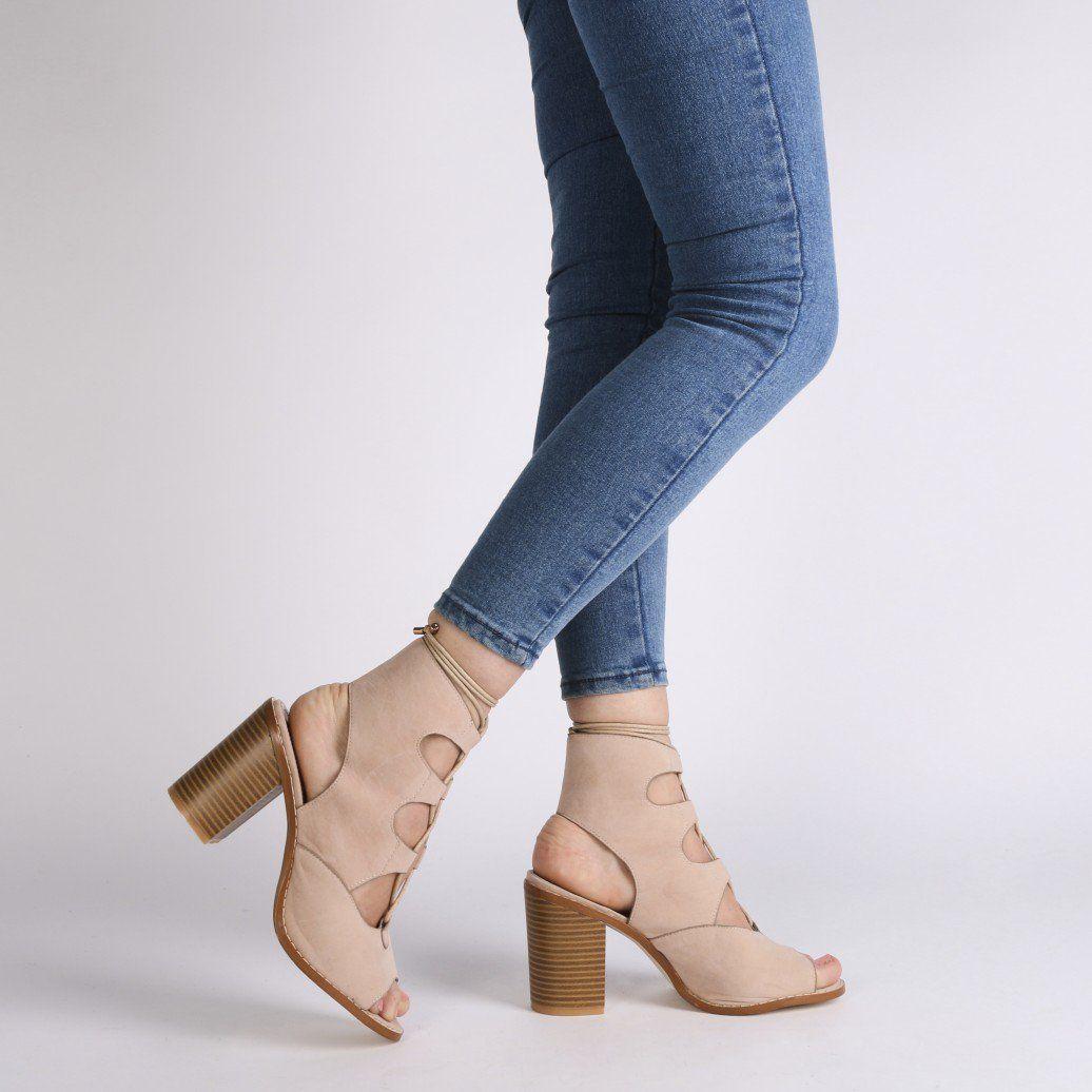 Sayra Block Heels in Nude Faux Suede