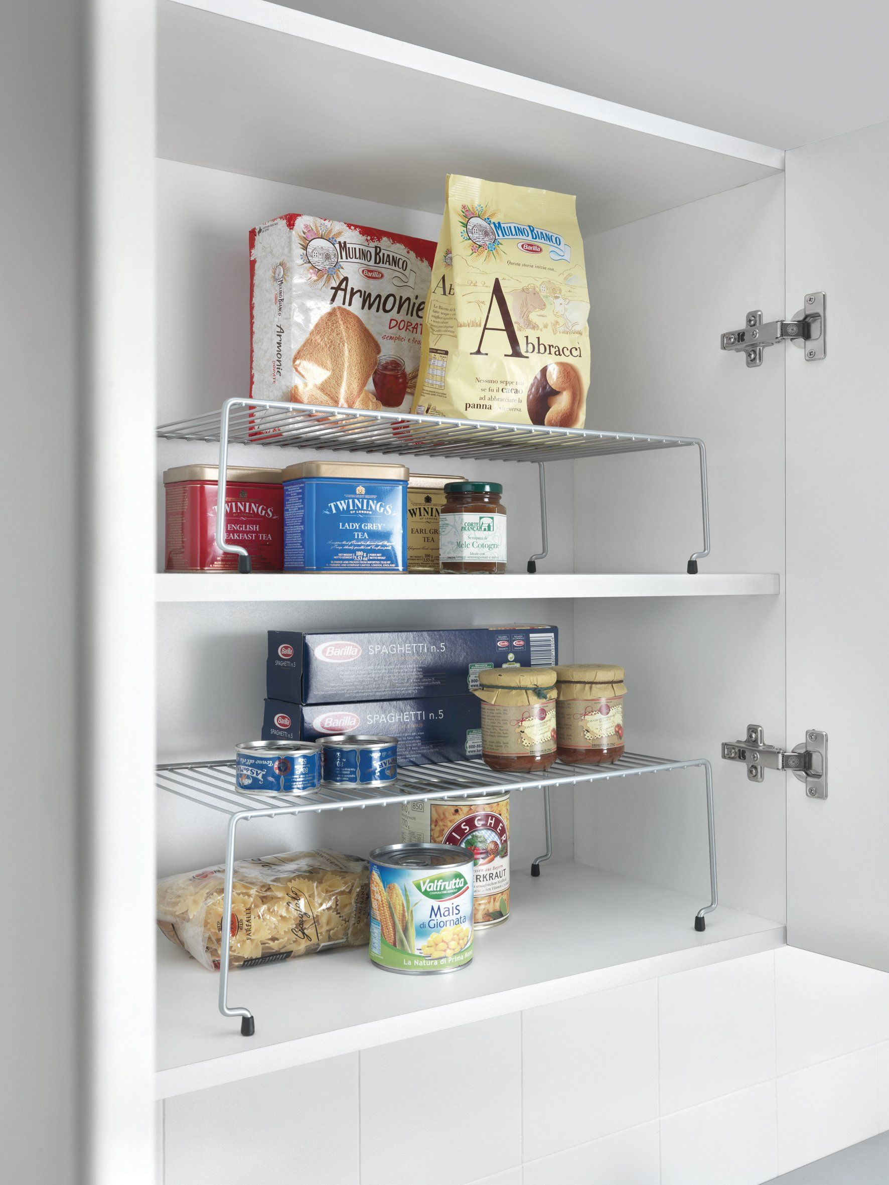 Metaltex Stackable Cupboard Shelves, Set of 2, Silver: Amazon.co.uk: Kitchen & Home