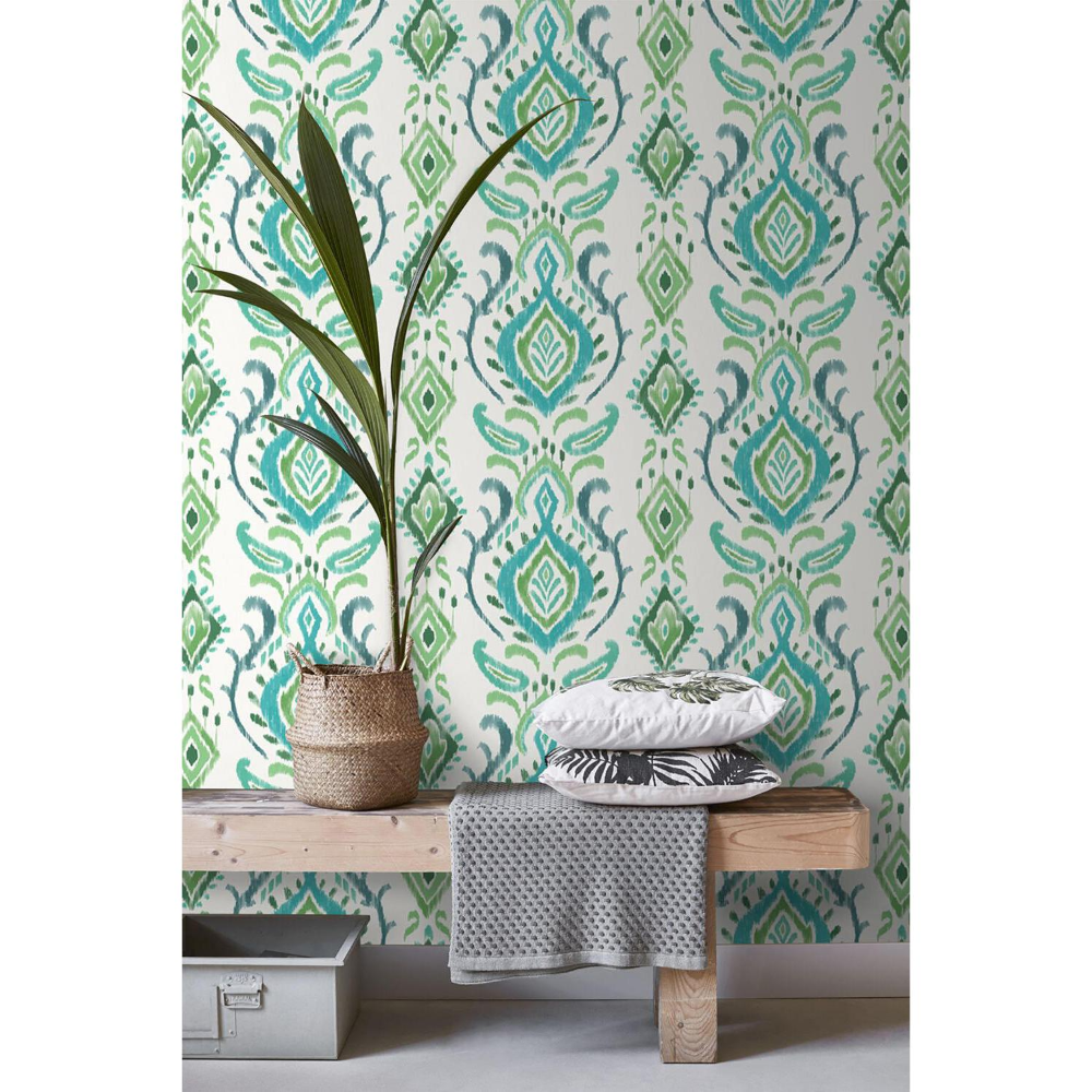 Esta Home Bowles Green Damask Paper Strippable Wallpaper Covers 56 4 Sq Ft Dd148647 The Home Depot Damask Damask Pattern Wallpaper