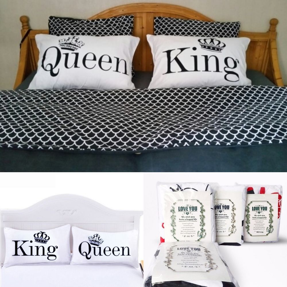 Set Of 2 Pillowcase Cover King Queen Size Bedding Couple White Pillow Case Unbranded Modern Sleeping White Pillow Cases Queen Size Bedding Queen Size