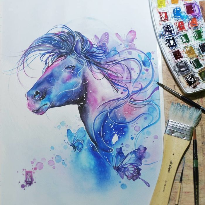 I Create Animal Spirits Trough Watercolor Cheval Aquarelle Les