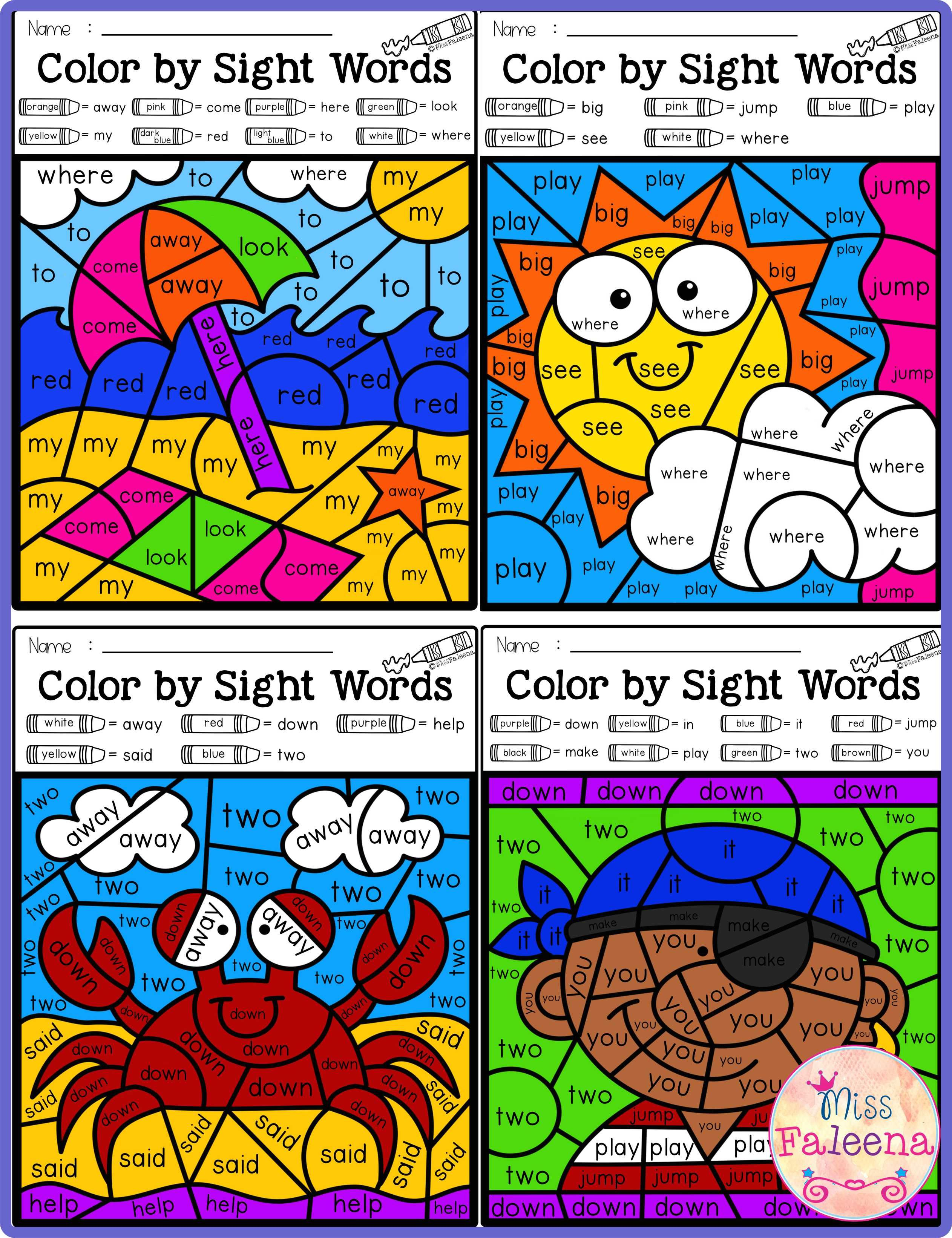 Summer Color By Code Sight Words Pre Primer