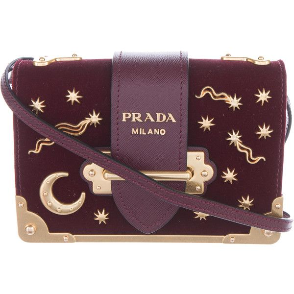 Pre Owned Prada 2016 Small Velvet Astrology Cahier Bag 218910 All Liked On Polyvore Featuring Bags And Handbags Bags Purple Bags Purple Handbags