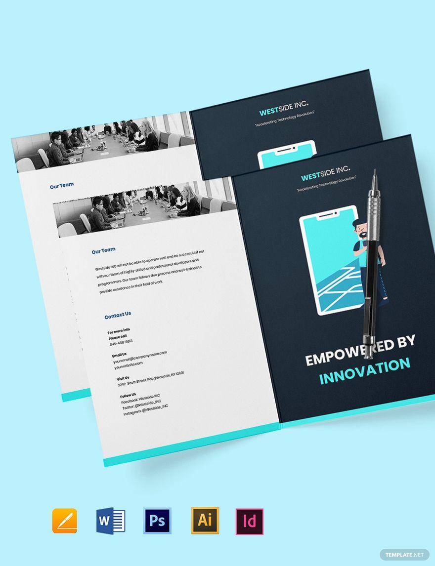 Free bifold simple it brochure template in 2020