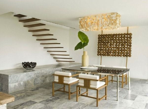 Make Home Dining Table Modern Furniture Stainless Steel Wood Staircase  Coconut Wood Stone Tiled Floor