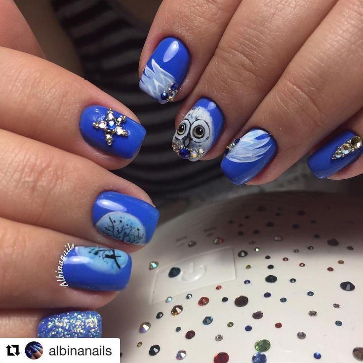 95+ Cute Owl Nail Art 2017 | Owl nail art and Owl nails