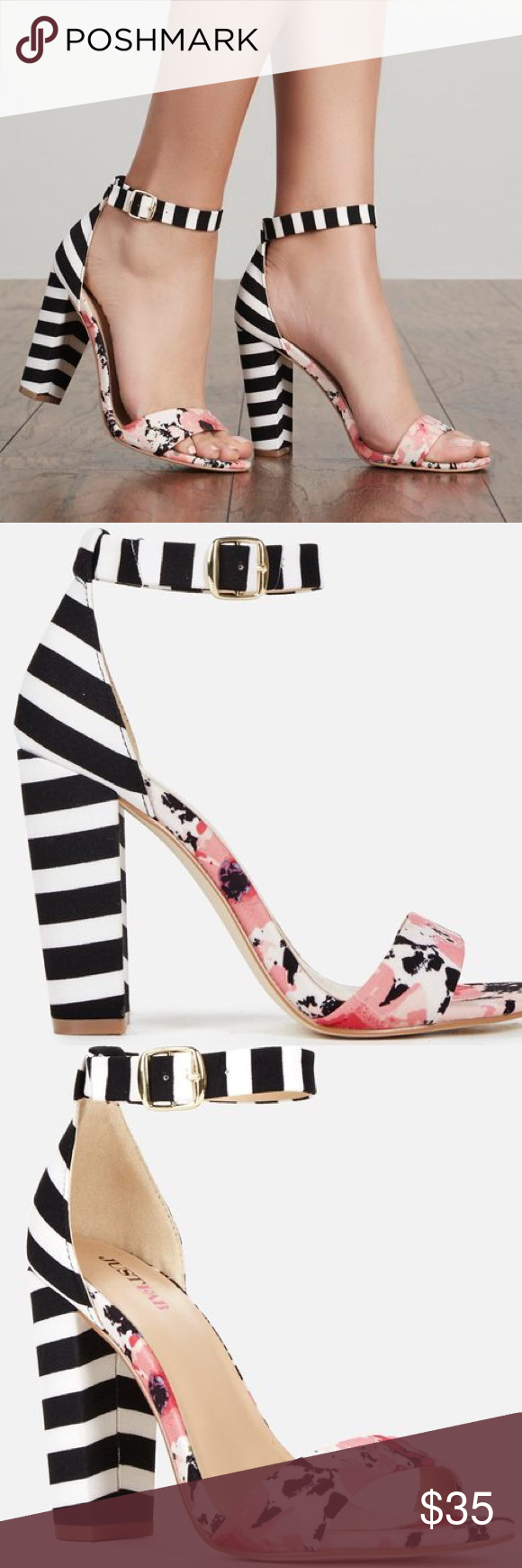 eceae2177423 JustFab Floral Striped Sandal Heel Perfect shoe to add