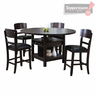 The Conner Espresso Counter Height Dining Set Features A Pedestal