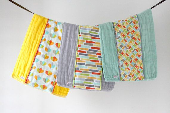 Baby Burp Cloth Gift Set of 3 Yellow Grey and Seaglass by owesley