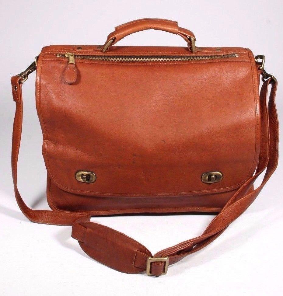 Vintage FRYE Whiskey Brown Leather Briefcase Messenger Laptop Bag Twist Turn Lk #Frye #LaptopBagMessengerBriefcase