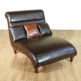 Bonded Brown Leather Double Chaise Lounge W Pillows Chaise