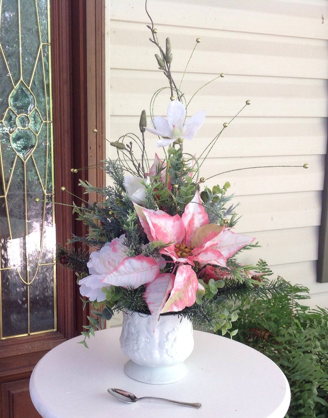 Pink White Poinsettia Centerpiece Holiday Floral Arrangement Christmas Poinsett Holiday Floral Arrangements Holiday Table Decorations Poinsettia Centerpiece