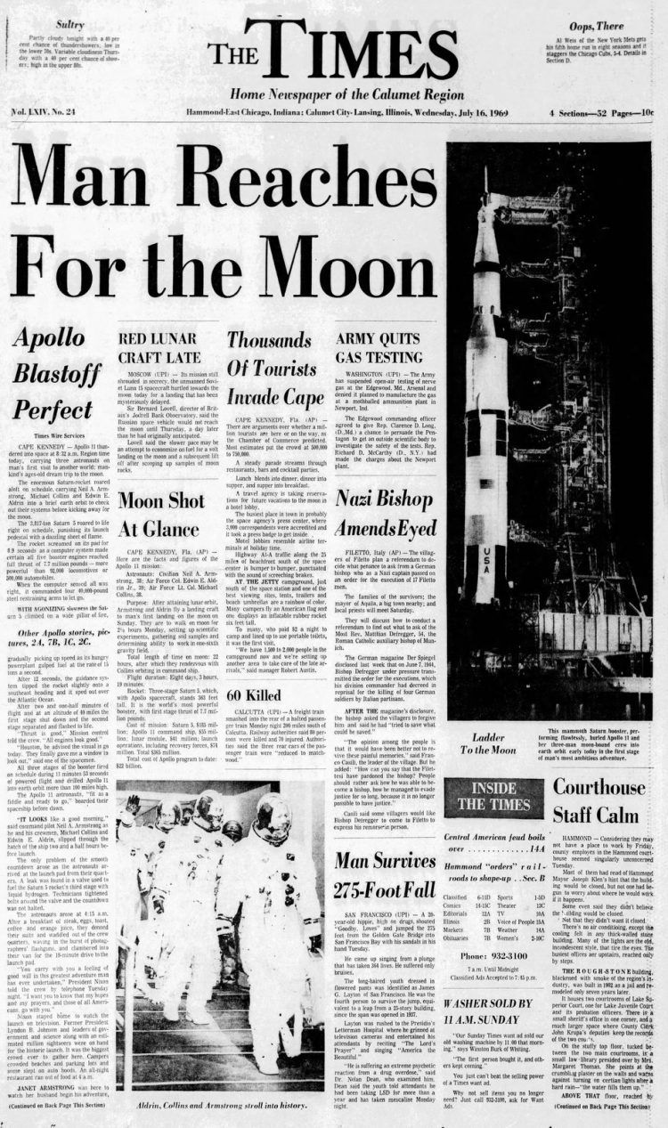 To the moon! 20 newspaper headlines from the Apollo 11 launch on July 16, 1969 - Click Americana