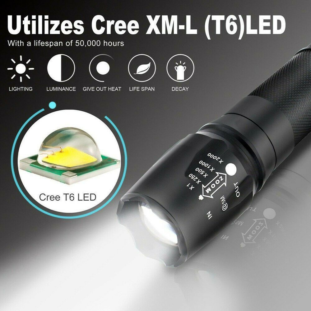G700 X800 LED Light Zoom Military Grade Tactical Flashlight Battery Shadowhawk