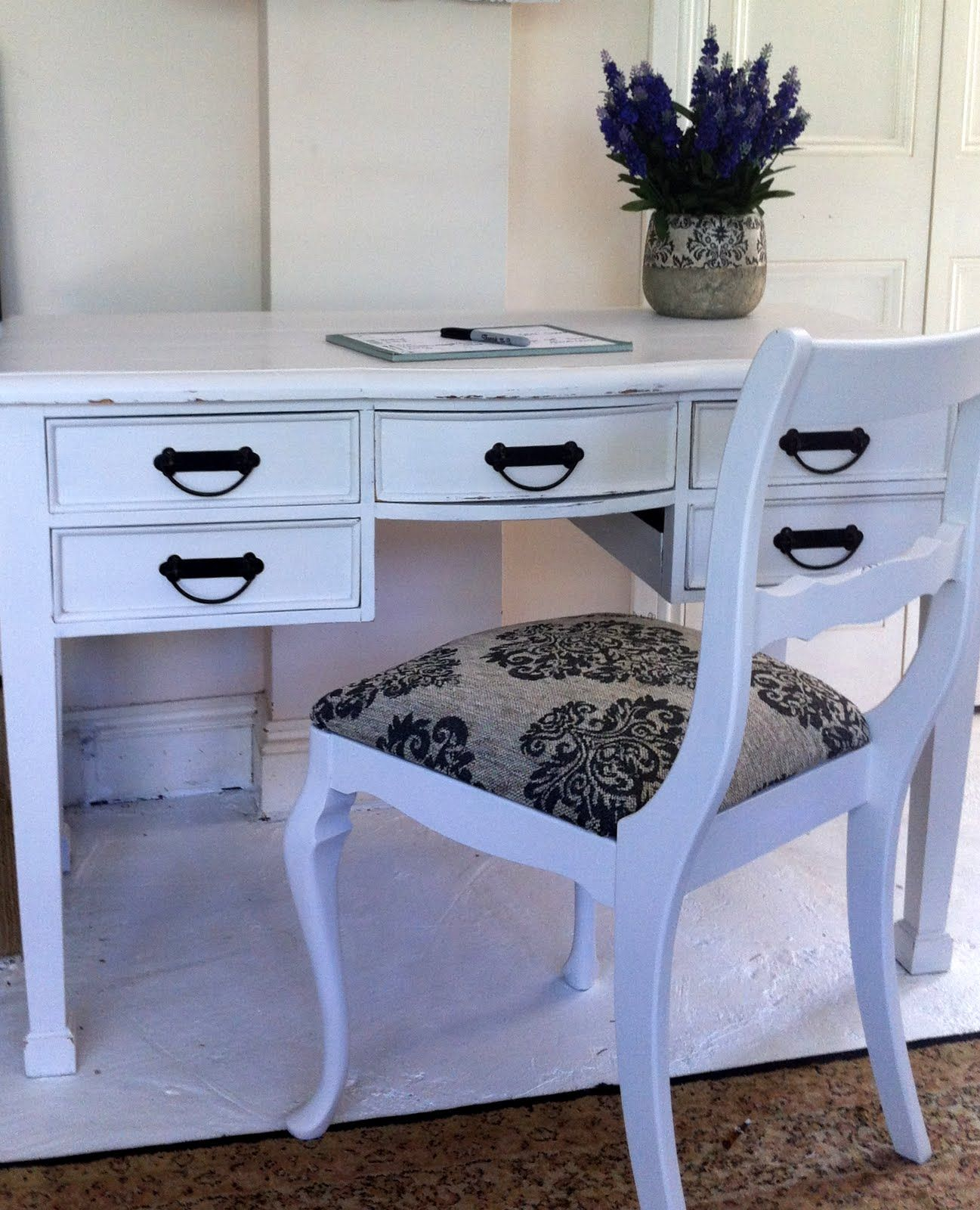 vintage shabby chic inspired office. Classic European White Curved Desk With 5 Drawer 4 Wooden Carved Leg And Single Brown Seat Antique Chair For Inspiring Home Office Furniture Vintage Shabby Chic Inspired