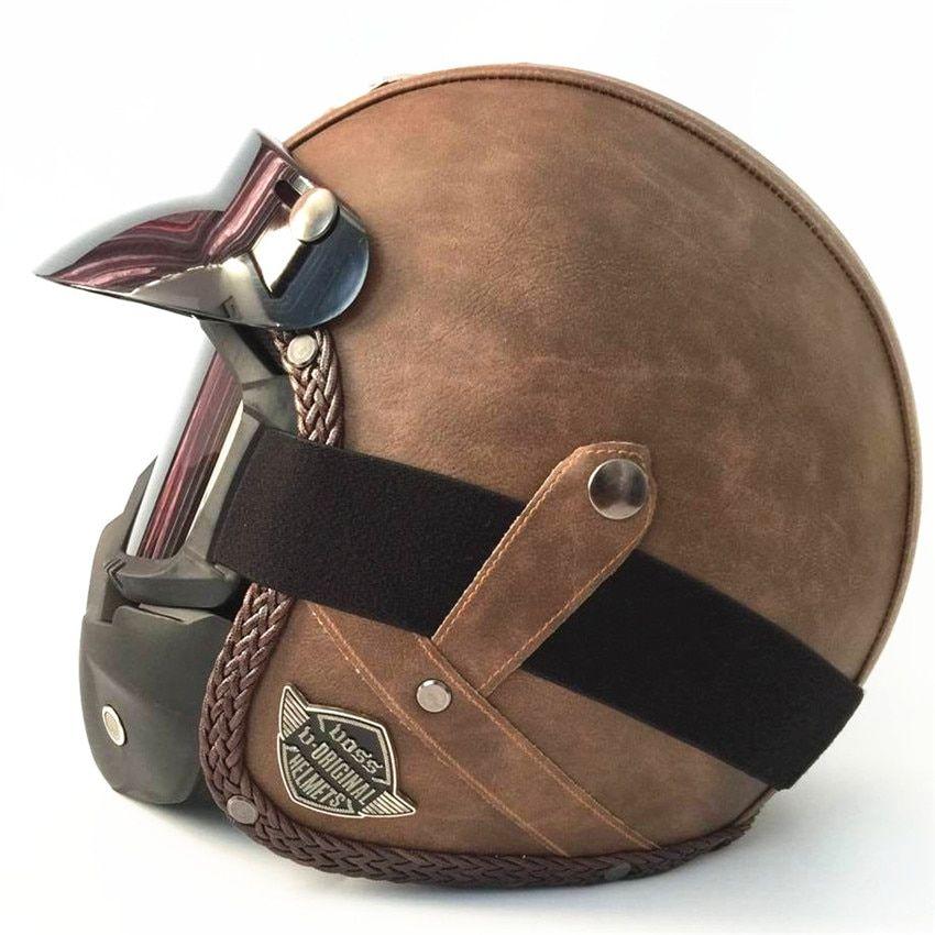 Best Price Hot Sale Open Face Half Pu Leather Helmet Moto Motorcycle Helmets Vintage Motorbike Headgea Motorcycle Helmets Vintage Harley Helmets Vintage Helmet