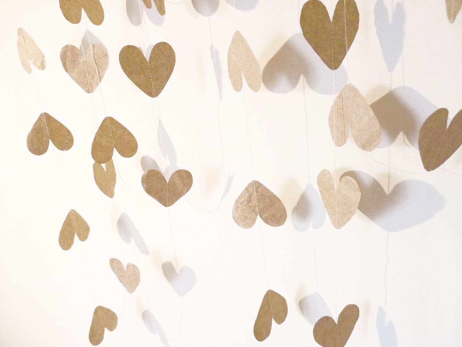 Recycled Brown Paper Heart Garland Christmas Decoration / First Anniversary Gift / New Years Party Decor  (Approx 2.68 meters / 8.7 feet)