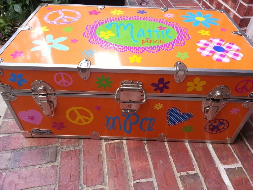 Decorated camp trunk with vinyl from www too2cute com