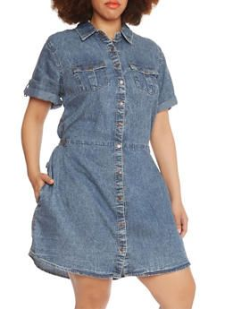 Plus Size Acid-Wash Shirt Dress with Four Pockets - 0390051062723 ...