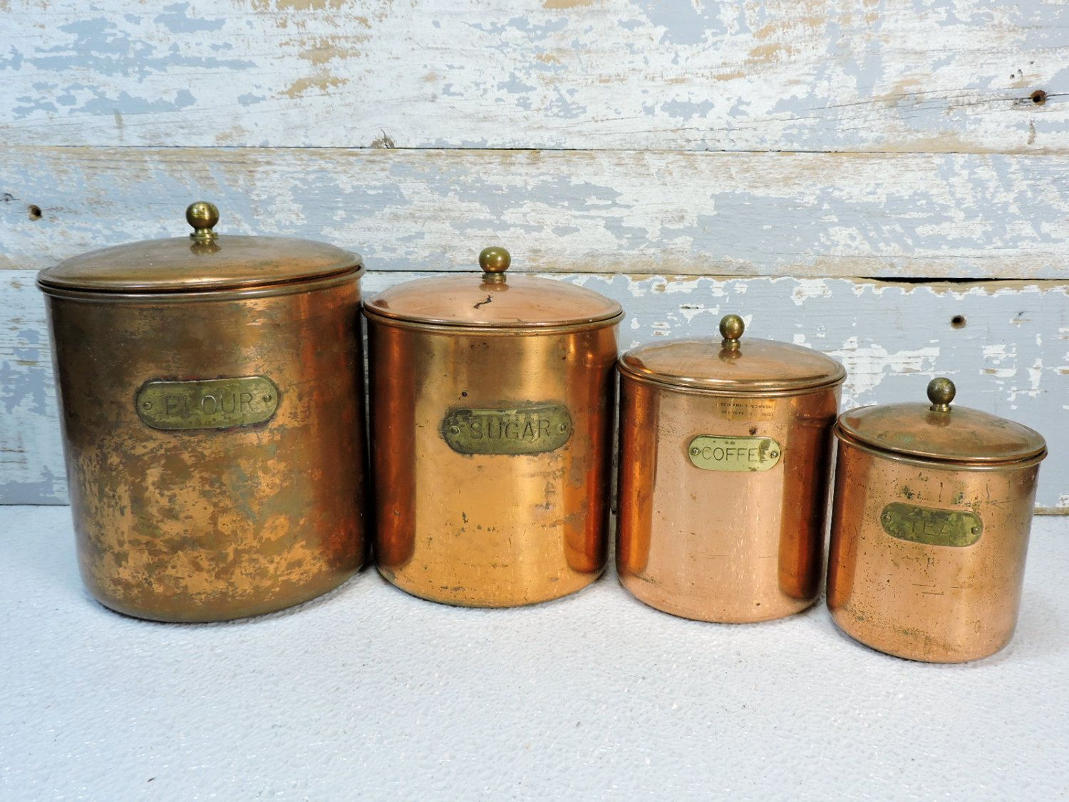 Exceptional Vintage Copper Canisters Kitchen Containers Coffee, Flour, Sugar, Tea  French Country Decor Cottage