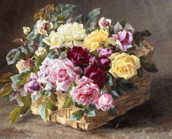 Kunstdruck Stilleben mit Rosen in einem Korb von Anthonore