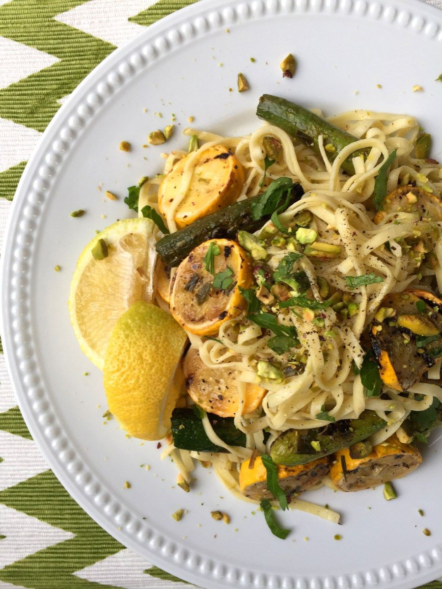 Vegan Pasta with Grilled Yellow & Baby Zucchini, Lemon  & Pistachios
