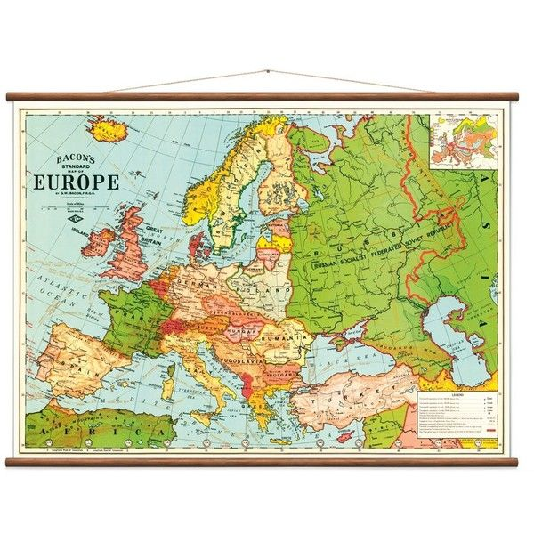 Wall Discovery Vintage Map of Europe (4.500 CZK) ❤ liked on ...