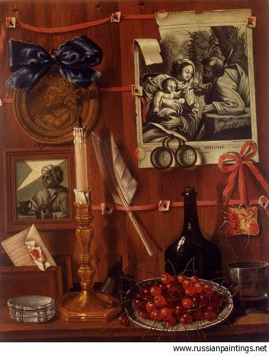 Valette Falgores Jean Trompe L Oeil With A Basket Of Cherries