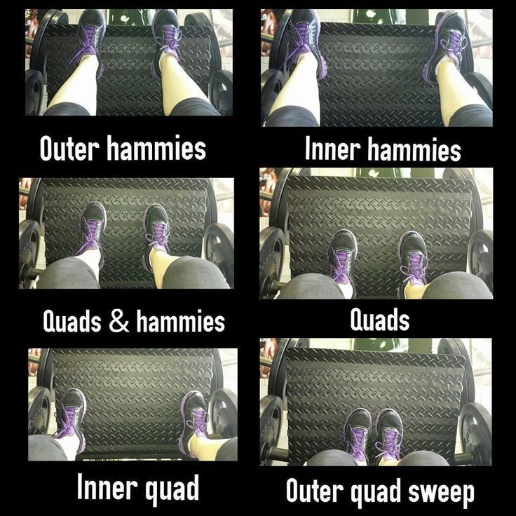 you want to target your glutes when using the leg press, use a narrow stance and place your feet high on the foot pad.