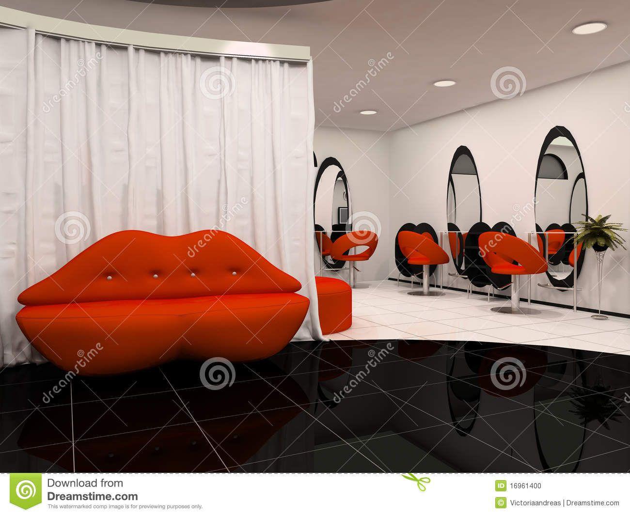 red black and white salon decor - Google Search | salon things ...