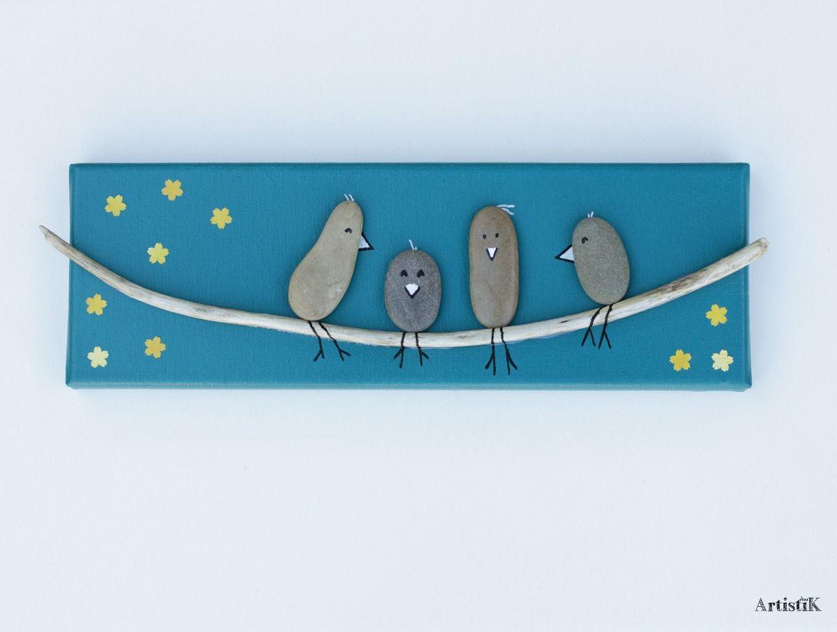 tableau galets oiseaux bois flott fond bleu canard. Black Bedroom Furniture Sets. Home Design Ideas
