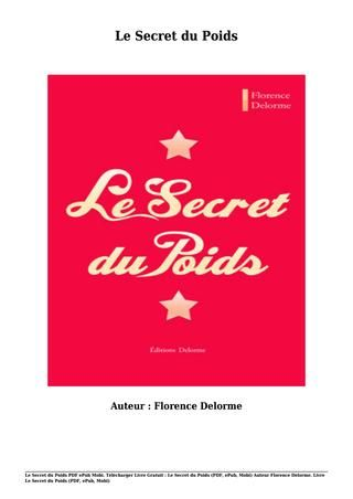 livre gratuit le secret du poids pdf epub mobi par florence delorme pinterest secret du. Black Bedroom Furniture Sets. Home Design Ideas