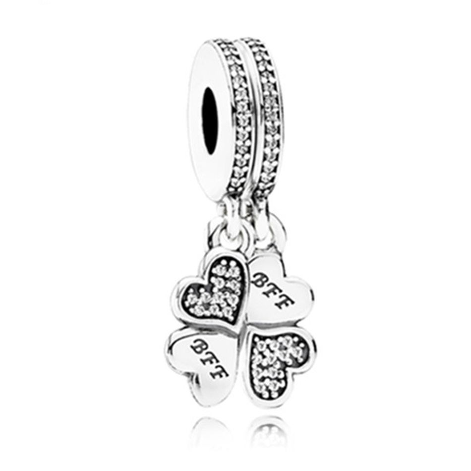 New silver plated bead best friend forever crystal heart petals