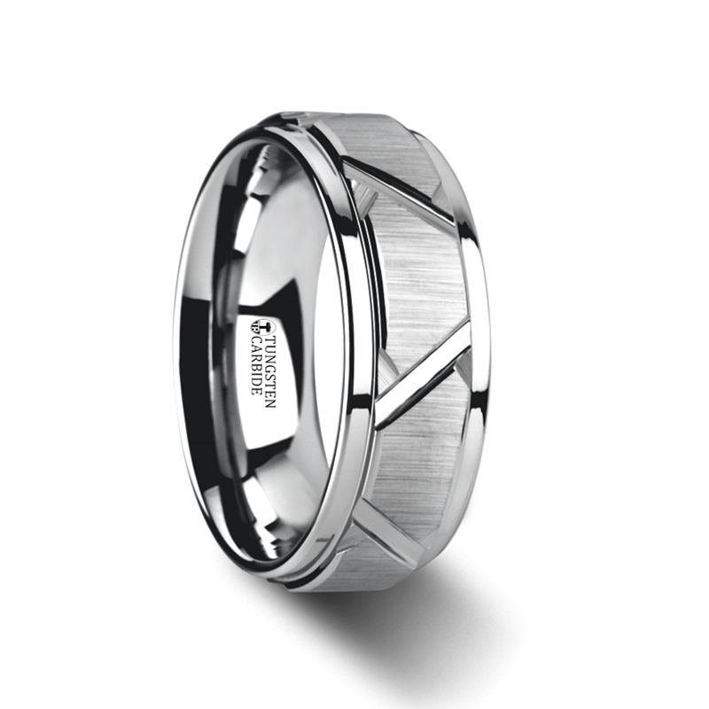 9mm Men/'s Yurman Titanium Rugged Black Groove Pattern wedding band ring