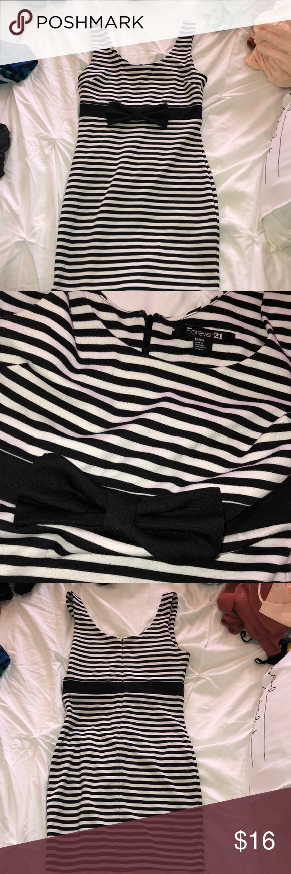 Petite black and white striped bodycon dress without teens