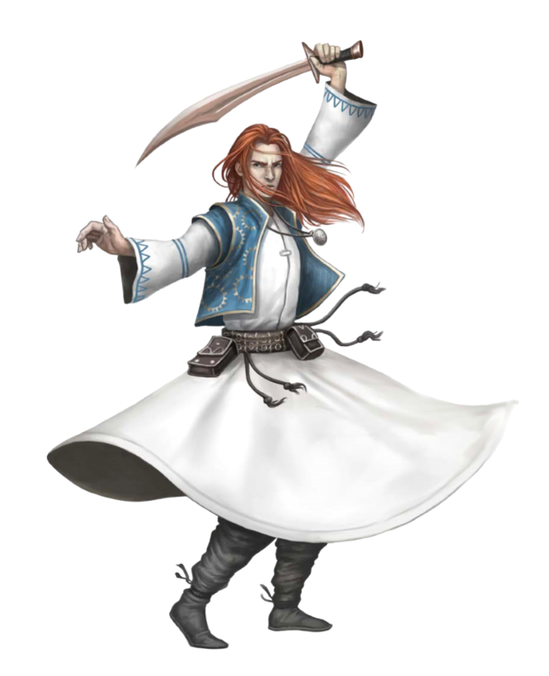 Male Cleric of Sarenrae Dancing - Pathfinder PFRPG DND D&D