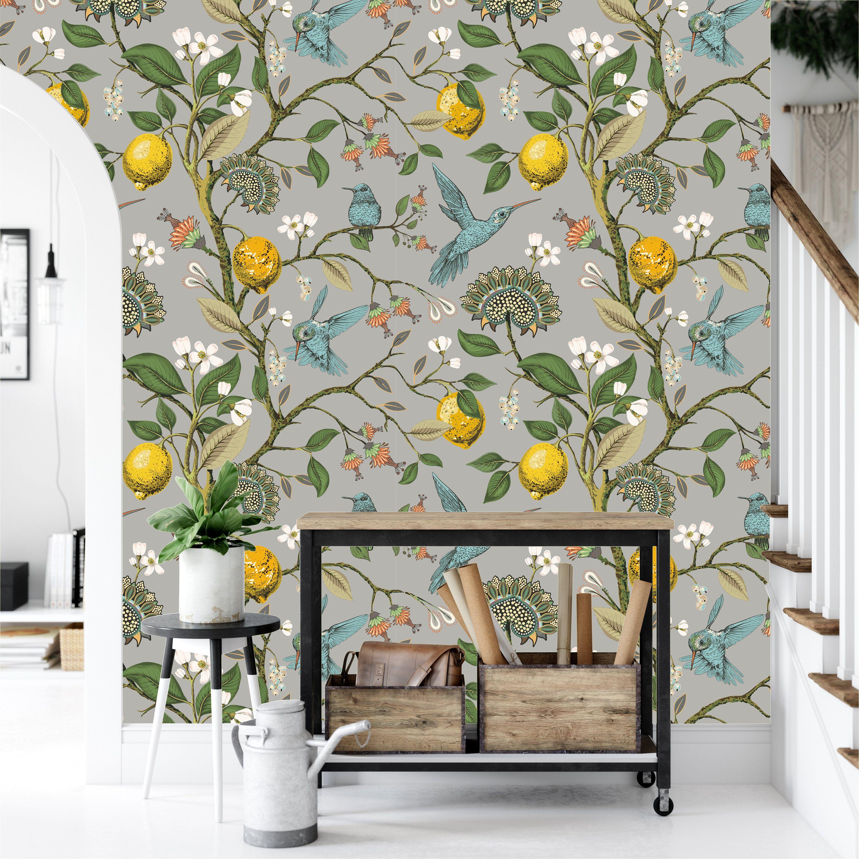 Chinoiserie Wallpaperlemons Flowers Hummingbirds Blooming Etsy In 2020 Chinoiserie Wallpaper Mural Wallpaper Peel And Stick Wallpaper