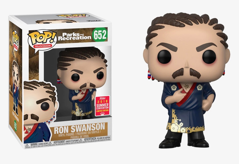 Ron Swanson Cornrows Summer Convention Catalog Funko Everyone Is A Fan Of Something Ron Swanson Parks And Recreation Vinyl Figures