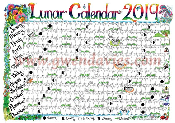 Pagan Calendar February 2019 2019 Lunar Moon Large A2 Wall planner, hand drawn Pagan / wiccan