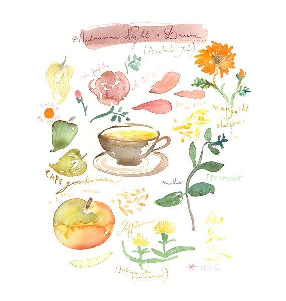 Midsummer night's dream tea Original watercolor by lucileskitchen